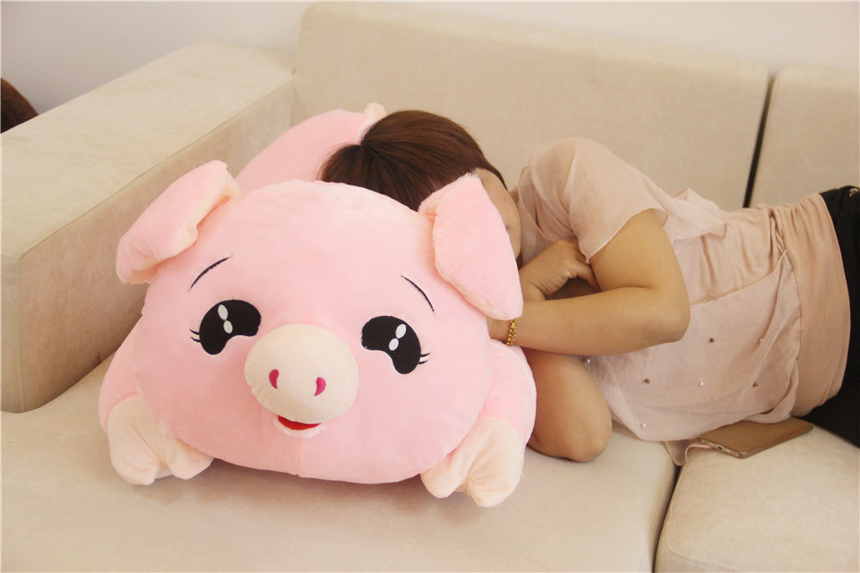 new lovely plush pig toy pink lying pig pillow doll gift about 80cm large 90cm cute pink pig plush toy cartoon pig down cotton very soft doll sleeping pillow birthday gift s0635