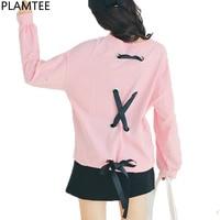 PLAMTEE Polka Dot Sweatshirt For Women Bandage Hoodies Long Sleeve Hoody Casual Loose Tracksuit Autumn Winter