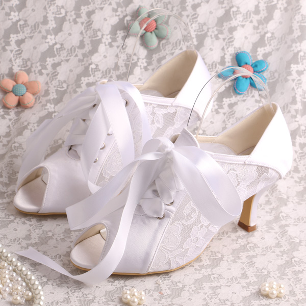 ФОТО Custom Handmade New Design White Lace Ladies Bridal Shoes with Mid Heel Ribbon Size 34~42