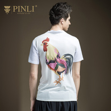 Pinli Top Fashion Fashion Print Product 2017 Summer New Men's Printed Linen Short Sleeved T-shirt Bottoming Sweater B172111106