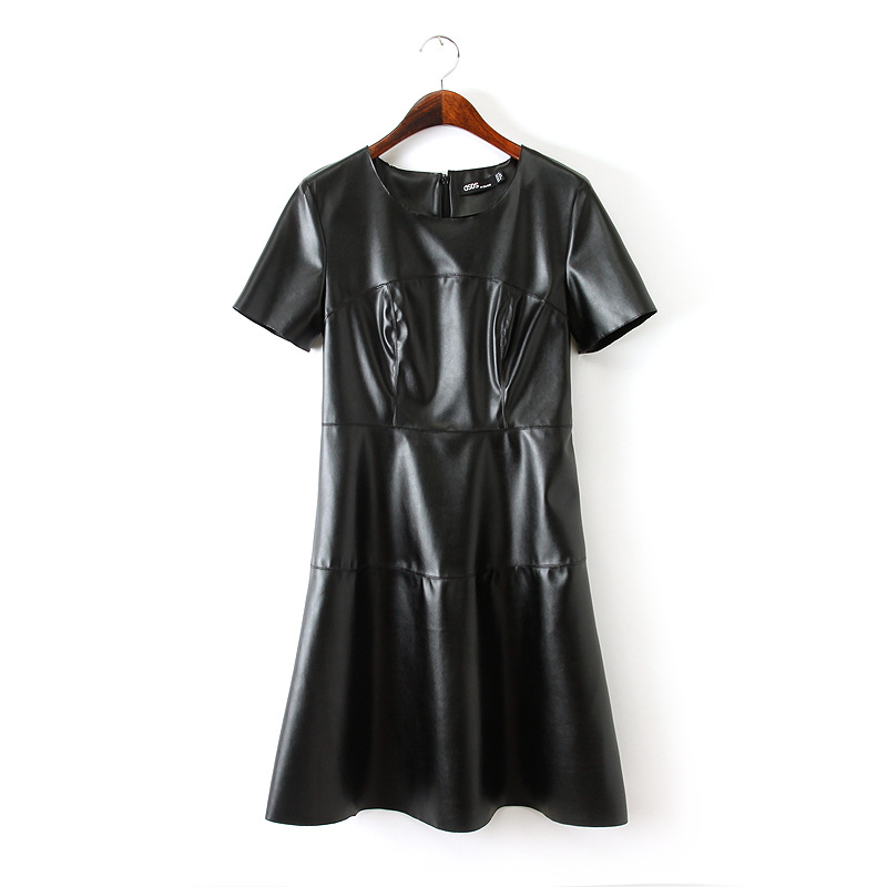 1f6aa72ae588 2019 Hot Sale Women Fashion Leather Dress O Neck Black Dress Casual ...
