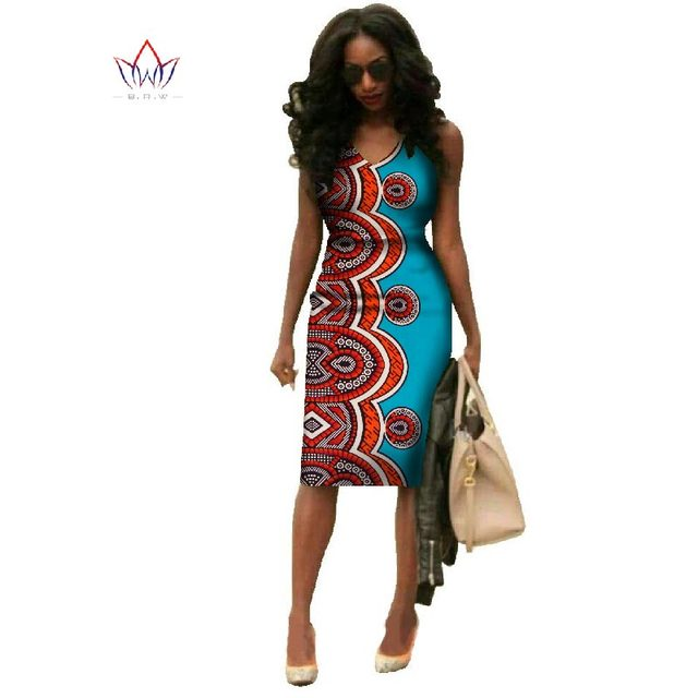 Vestidos 2018 African Dresses For Women Dashiki Plus Size Fashion African Wax Print Dresses Bazin Riche Africa Dresses WY237