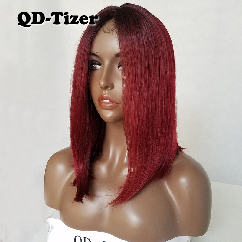 Image 5 - QD Tizer Short Burg Color Bob Hair Wigs Glueless Synthetic Lace Front Wig Ombre Two Tone Color Lace Front Wig for Women-in Synthetic Lace Wigs from Hair Extensions & Wigs