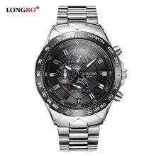 Nueva Longbo Marca de Lujo Relojes de Cuarzo de Los Hombres de Moda Casual Hombres Deportes Relojes Reloj Militar de Acero Inoxidable Completa Relojes de Pulsera