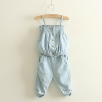 Free Shipping Summer Hot Sale 2014 Children Clothing Girl Sets Boob Tube Top Gallus Jeans Trousers