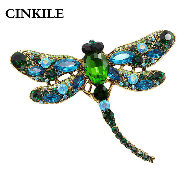CINKILE Rhinestone Dragonfly Brooches for Women Vintage Insect Brooch Pin Large