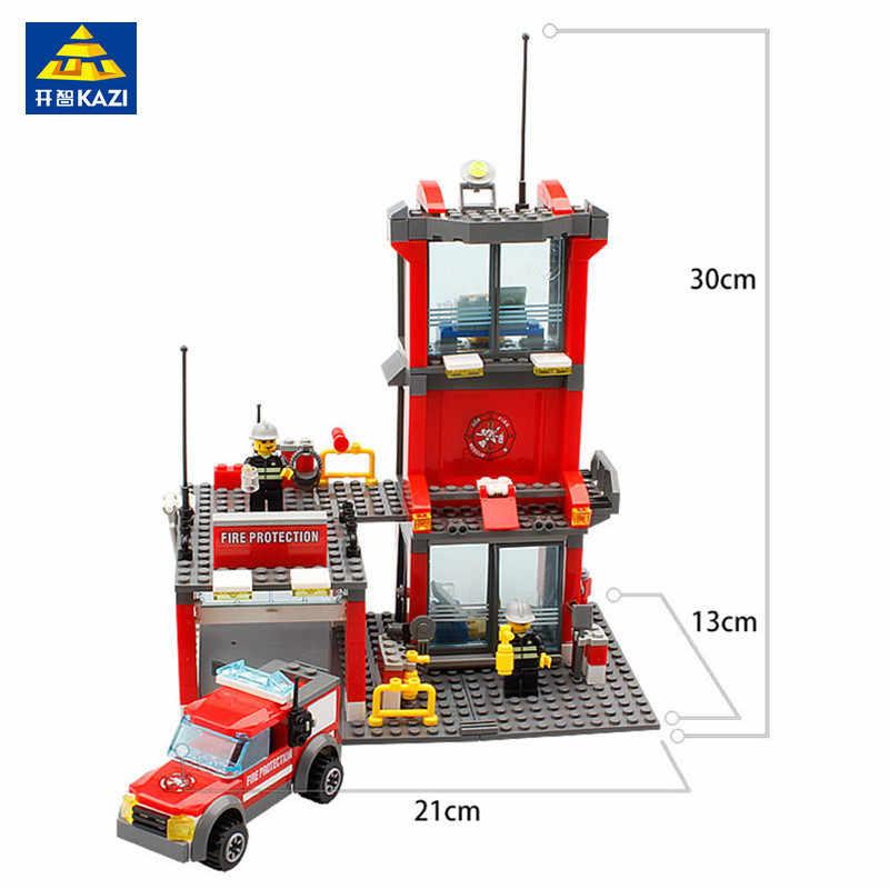 300 шт. городская пожарная часть совместимые LegoINGL строительные блоки наборы пожарный фигурки кубики для творчества Playmobil игрушки для детей