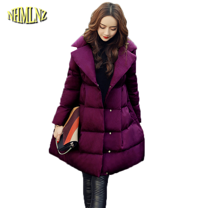 Fashion Sweet Style Cotton Coats Female 2019 New Solid Winter Slim   Parkas   Long sleeve Warm Cotton Jacket Women Outwear DAN300