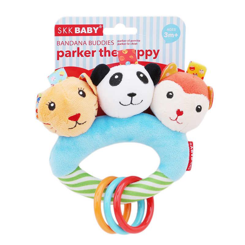 Хорошее качество детские три головы животного круг руки захватывать погремушка развивающий сопроводительный игрушечный тигр панда обезьяна детские игрушки