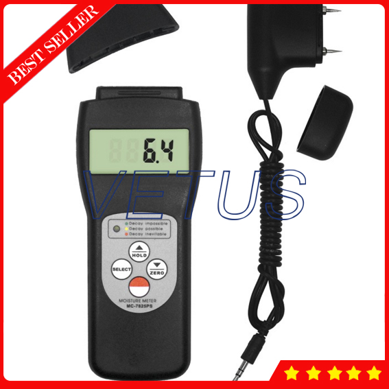 MC-7825PS Digital Water meter price with 2 in 1 Multifunctional Digital Pin & Search type Scanner and Probe Moisture Meter Wood digital pin type wood moisture meter for wood fibre materials wooden articles tobacco cotton and paper 0 50%