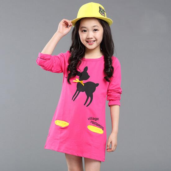 2017 New Three Quarter Children Clothes Girls T Shirt Cartoon Printed Children Long Sleeve T-shirts Girls Clothing Children Top