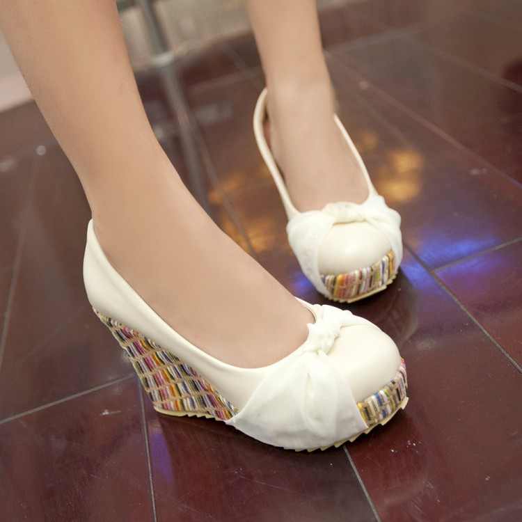 ФОТО Free shipping Spring and Autumn new wild round shallow mouth singles shoes tendon at the end wedges