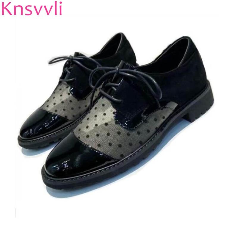 Knsvvli Printemps Confort Chaussures Plates Femmes à lacets Bout Rond Chaussures En Cuir Dames Maille Noire À Pois Angleterre décontracté Zapatos Mujer