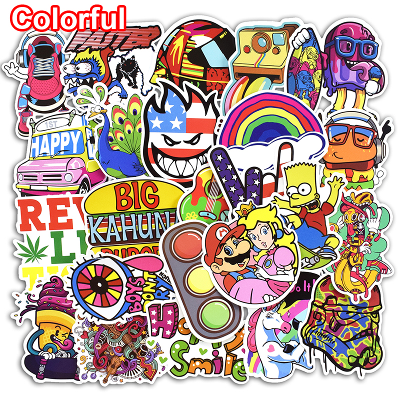 50 Pcs Mixed Funny Colorful  Rainbow Sticker for Laptop Luggage Bags Handbag Toy Doodle Cool DIY Stickers PVC Creative Decals