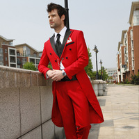 Red Swallow Tailed Men Suit New Style Blazer Latest Coat Pant Design Fashion Slim Fit Terno Masculino Good Quality Men Suits