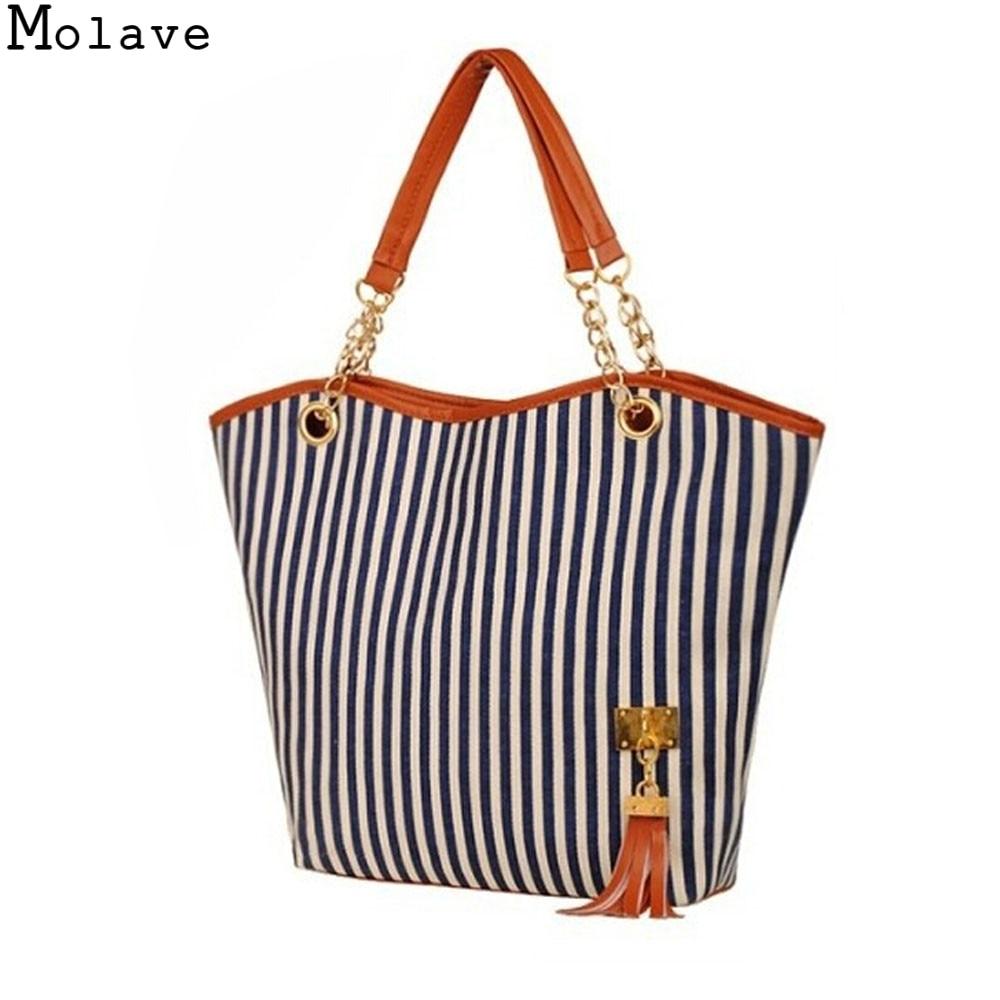 Aotian Bolsas  Girl Stripe Tassels Chain Canvas Shopping Handbag Shoulder Tote Shop Bag 17Apr18 Dropshipping