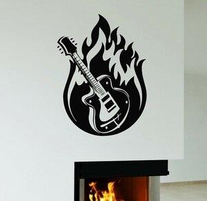 Image 1 - Autoadesivo della parete di Musica per Chitarra Hard Rock In Metallo di Musica In Vinile Applique Camera Da Letto A Casa di Arte di Disegno Della Decorazione 2YY46
