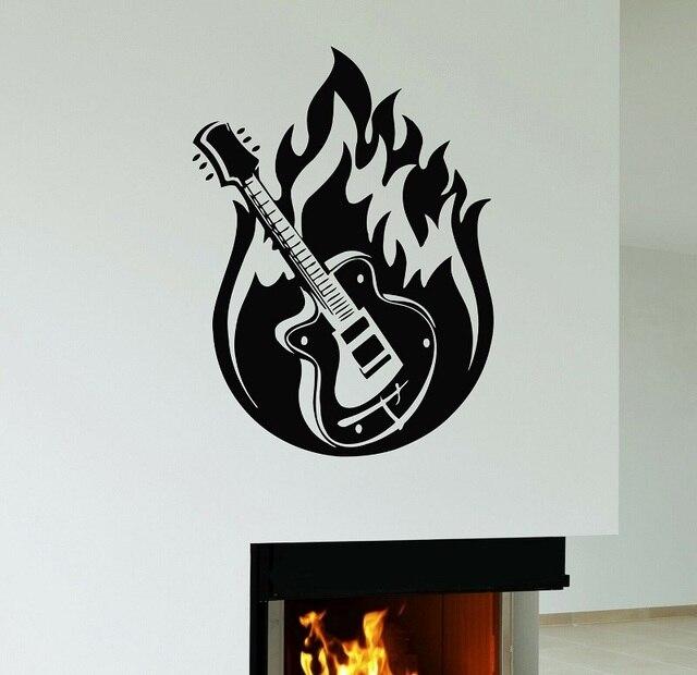 Autoadesivo della parete di Musica per Chitarra Hard Rock In Metallo di Musica In Vinile Applique Camera Da Letto A Casa di Arte di Disegno Della Decorazione 2YY46