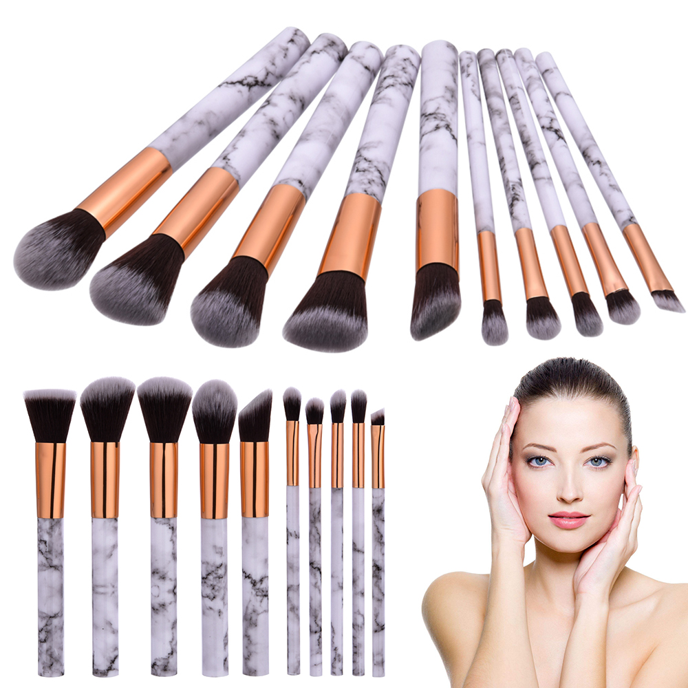 ELECOOOL 10pcs/Set Professnial Women Makeup Brushes Extremely Soft Makeup Brush Foundation Powder Brush Marble Make Up Tools