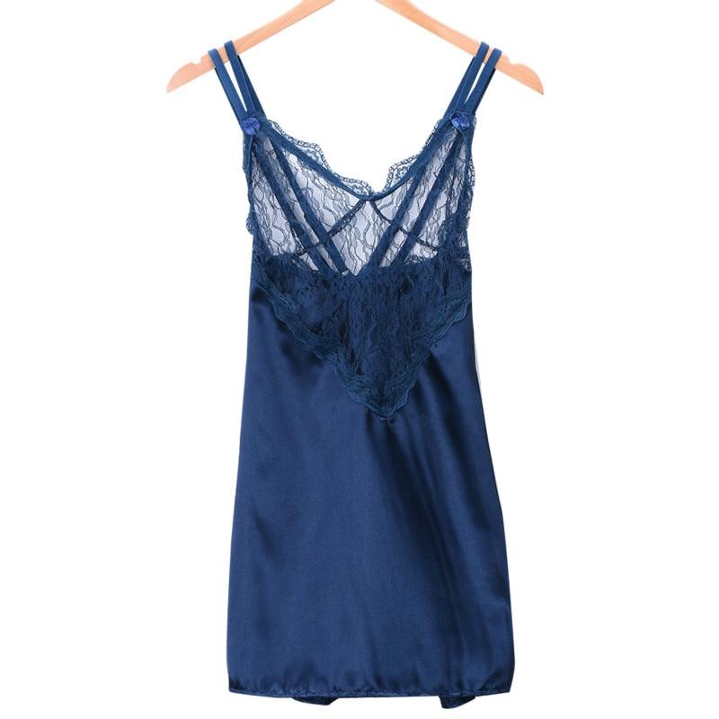 0042c6bbdc69 Nova Mulher Sexy Lace Robe De Cetim Vestido Babydoll Lingerie Roupa 2 cores
