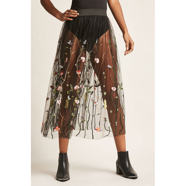 2795de24aaebd US $5.18 5% OFF|2018 Fashion Tulle Skirt Elastic Waist Sheer Floral  Embroidered See Through Sexy Long Maxi Skirts For Women Clothing-in Skirts  from ...