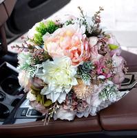 Blush Wedding bouquet Peony bouquet Mauve Dusty Rose Wedding flowers Silk Bridal bouquet S34