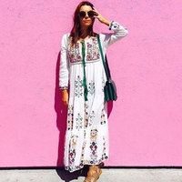 BOHO PEOPLE Draw String Cotton And Linen Vestidos 2018 New Ethnic Floral Embroidery Dress Loose Bohemia Women Holiday Long Dress