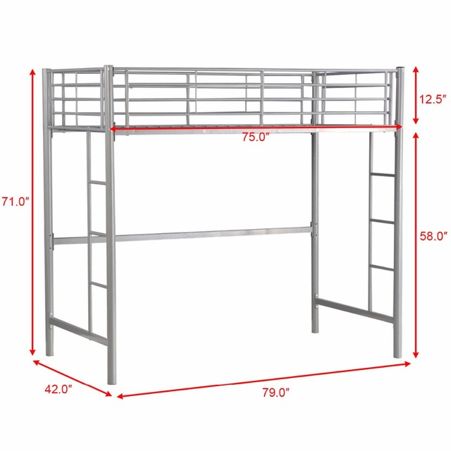 Giantx Twin Loft Bed Metal Bunk Ladder Beds Boys Girls Teens Kids Bedroom Dorm Bedroom Furniture HW56062