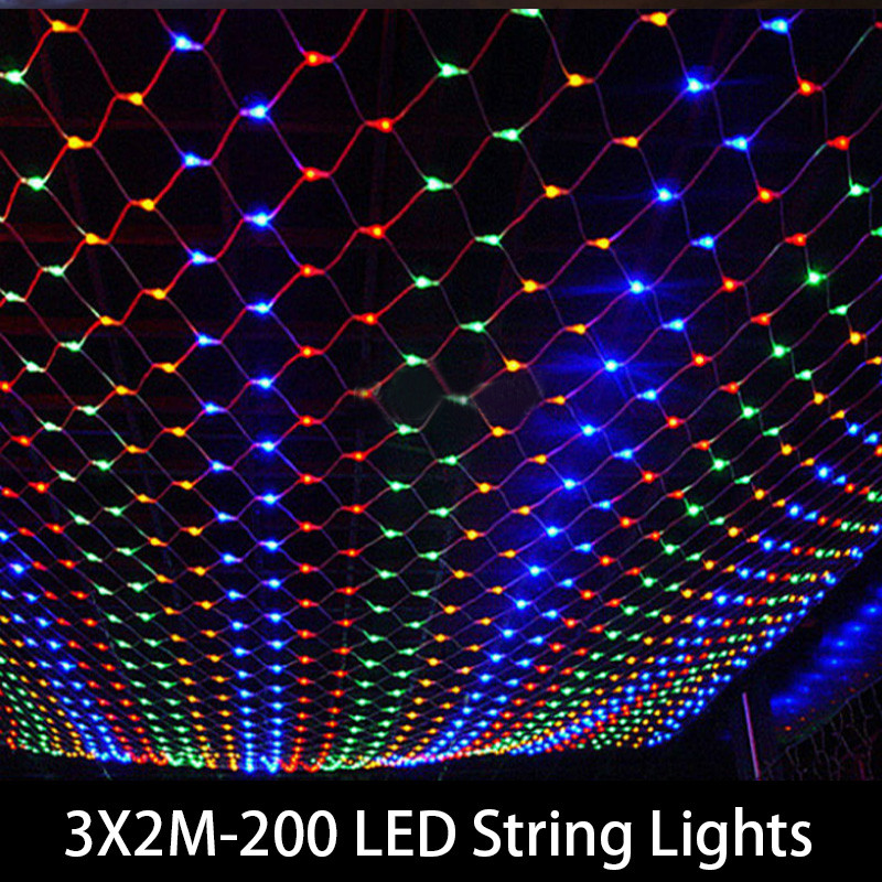 Tail Plug 3*2M 200 LED Wedding Garden New Year Net Mesh Garland Christmas Decoration Outdoor Fairy String Light EU 220V