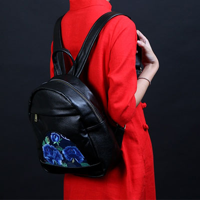 Dos National Filles Femmes Mini Sacs Personnalisé Ethnique Bleu À pourpre Pour Brodé Xiyuan Les Broderie Fleurs Marque Chinois Caractéristiques tfq1wOSx