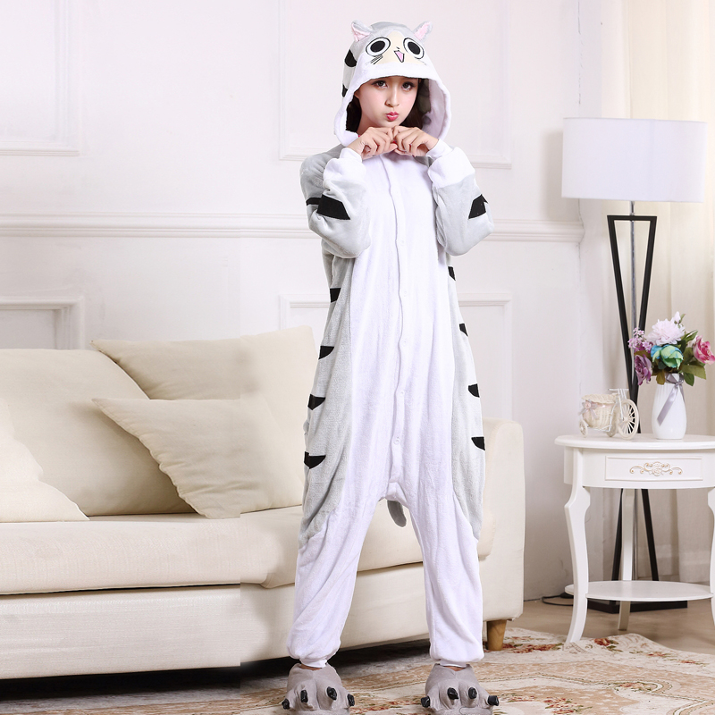 Soft Cartoon Cheese Cat Onesies For Adult Kigurumi Pajamas Flannel ... 6a56b1c353d7a