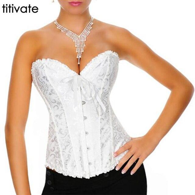 Plus Size Satin lace up Overbust Slimming Wedding Bustiers Corset Sexy Lingerie White Bride Waist Women corsets Plus Size S-6XL