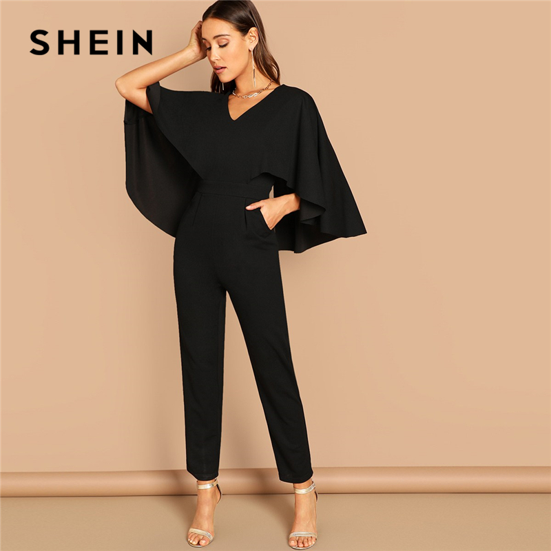 SHEIN Modern Lady Going Out Party Black Elegant V-Neck Solid Cape Long Sleeve Cloak Sleeve Jumpsuit Winter Women Jumpsuits