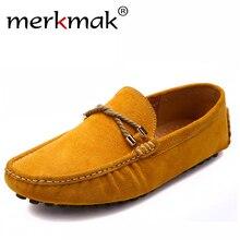 Suave cómodo holgazanes Hombres de la marca casual zapatos planos de los hombres de los hombres hechos a mano zapatos de cuero genuino de conducción mocasines de marca zapatos planos
