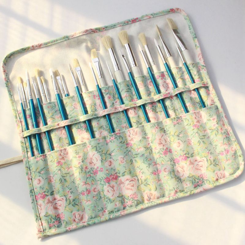 Paint Brushes Pencil Bag Roll Up Thick Canvas Wrap Pouch 20 Holder Case Organizer Pouch Perfect Storage for Brush Make up striped wrap pencil bag