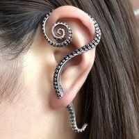 Genuine 100% 925 Sterling Silver Piercing Earrings Big Octopus Foot Punk Antique Cuff Clip On Pin Earrings Left Ear Wear Jewelry
