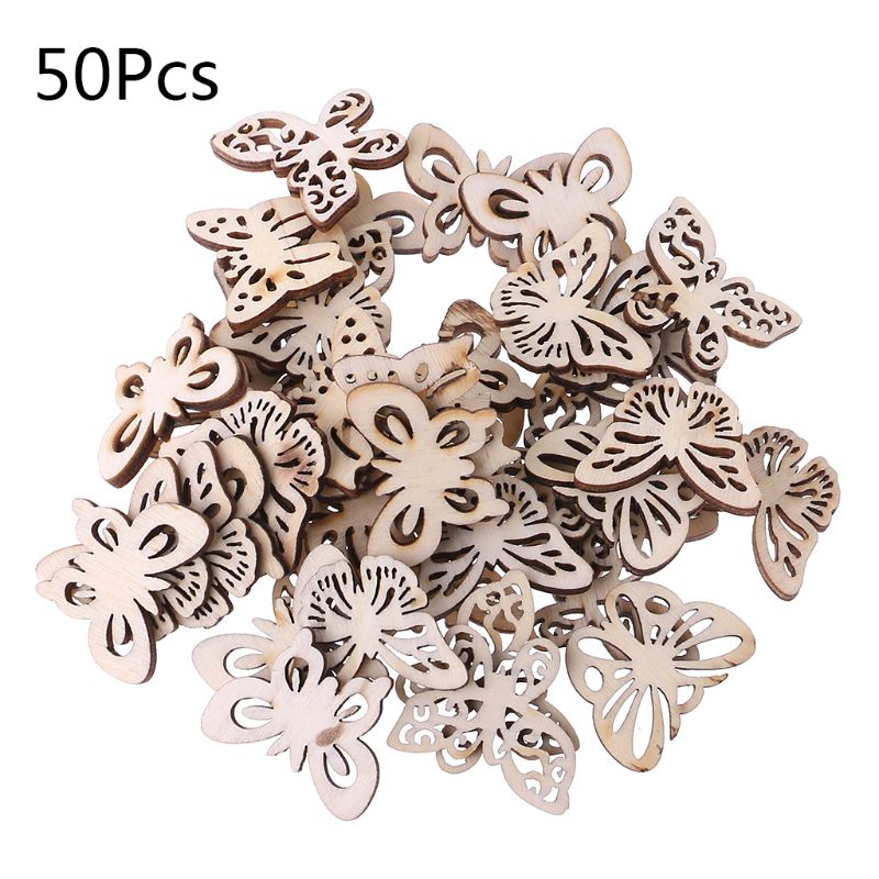 50pcs Laser Cut Wood Butterfly Embellishment Wooden Shape Craft Wedding Decor