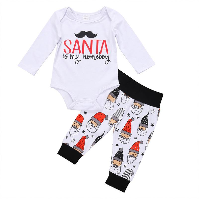 Baby Girl Boy Newborn Clothing Set Letter Print Santa Christmas Children Clothes 2Pcs GirlsRomper+Pant2017AutumnBoysBabyJumpsuit 9 12m baby boy set monkey print clothes for children newborn baby boy clothing corduroy 2017 autumn clothes 2pcs boy outwears