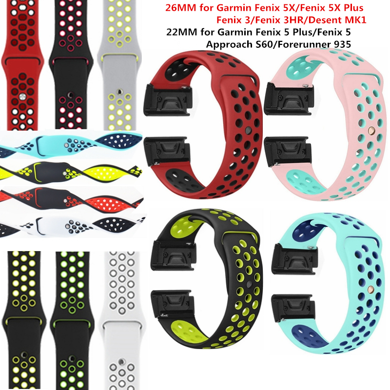 22mm 26mm Soft Sport Silicone Rubber Quick Release Replacement Wristband Strap for Fenix 5X /Fenix 3/Fenix 5/60 Forerunner 935 fenix комплект наклеек