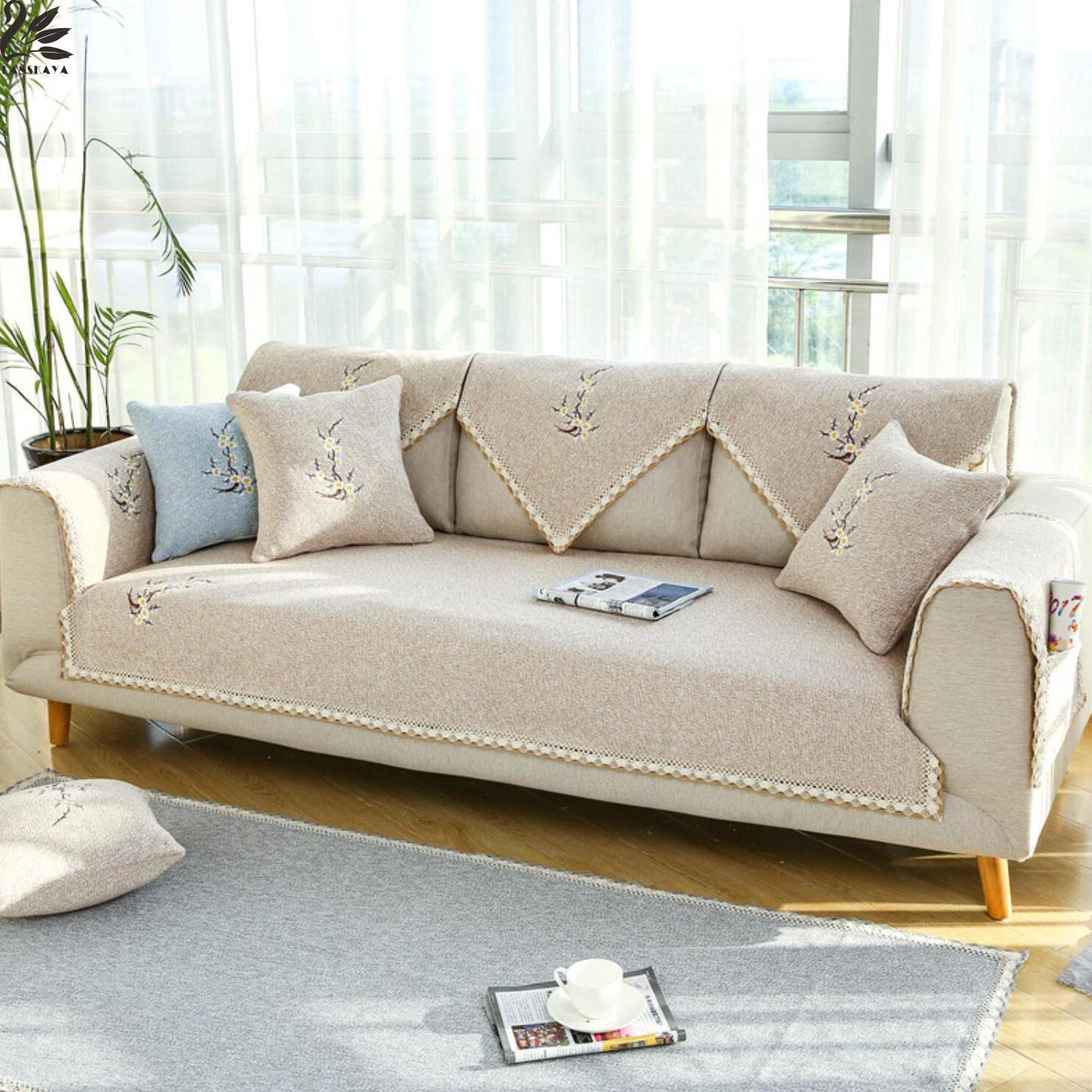 Cream Cotton Embroidery Positioning Cushion Simple Modern Sofa Sleeve Cover Slipcovers Leather Sofas Fundas In From Home Garden On