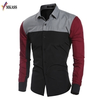 Spring Autumn Features Shirts Men Casual Patchwork Color Shirt New Arrival Long Sleeve Casual Slim Fit