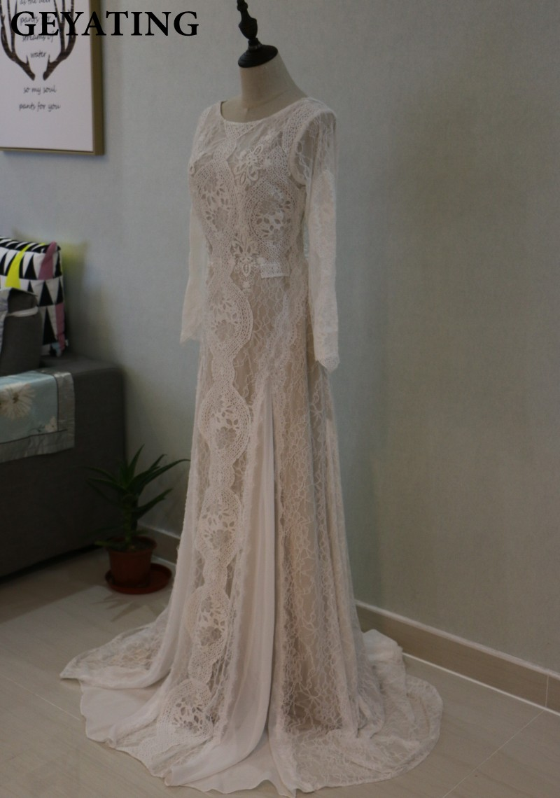 Vintage Lace Long Sleeve Boho Beach Mermaid Wedding Dress