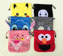 IVYYE 1PCS Stitch Totoro Cartoon Drawstring Bags Cute Plush storage handbags makeup bag Coin Bundle Pocket Purses NEW