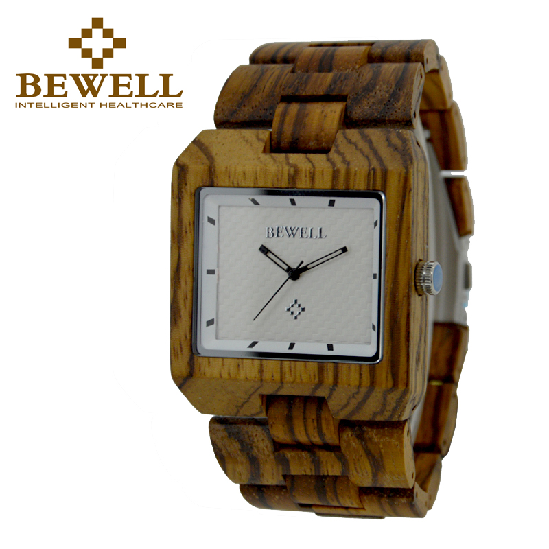 BEWELL New Quartz Sandal Wood Watch for Man Watches with Fashion Sport Rectangle Wrist Watch Masculino Clock with Box 016A splendid brand new boys girls students time clock electronic digital lcd wrist sport watch