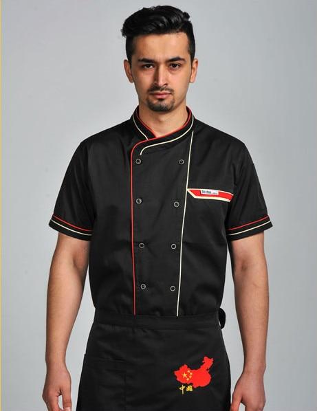 Men Women Chef Jacket Top Badge Short Sleeves Restaurant Cook Coat Work Wear