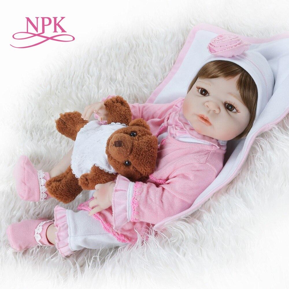 NPK 56 cm lebensechte reborn baby puppe volle vinyl silikon weiche echt sanfte touch puppe playmate für kinder Geburtstag geschenk-in Puppen aus Spielzeug und Hobbys bei  Gruppe 1