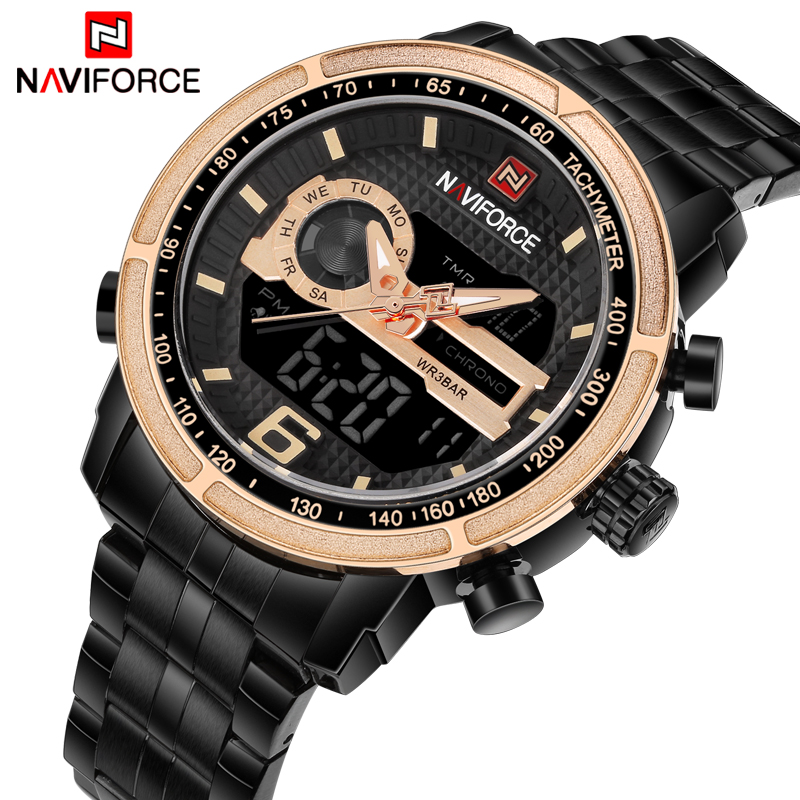 NAVIFORCE Luxury Brand Men  Sport Army Military Watches Men's Quartz Digital Wrist Watch Man Full Steel Clock Relogio Masculino watches men weide brand men sports full steel watch men s digital quartz clock man army military wrist watch relogio masculino