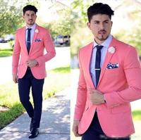 2019 Handsome Pink Tuxedos Slim Fit Mens Wedding Suits Two Button Groom Wear Two Pieces Custom Made Formal Suit(Jacket+Pants)