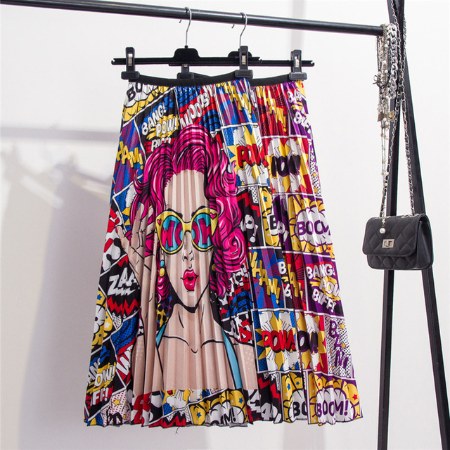 2020 New Printing High Waist Pleated Skirt Women Spring Summer Midi Skirts Womens Elastic Waist A Line Long Skirts For Women Rok