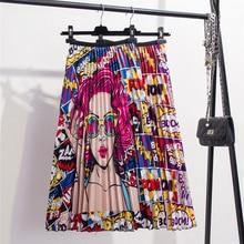 2020 nowy nadruk wysokiej talii plisowana spódnica kobiety wiosna lato spódnice Midi kobiet w pasie linia długie spódnice dla kobiet Rok